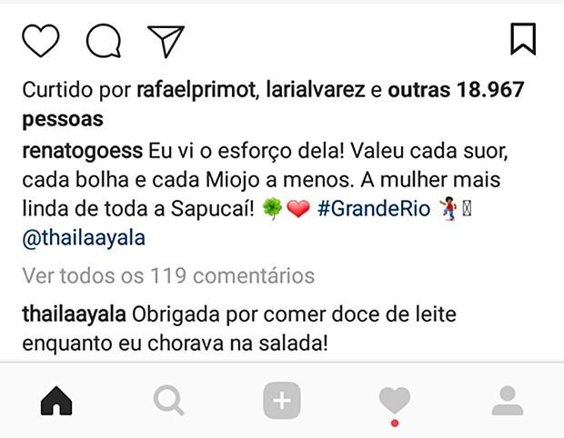 Renato Góes comenta post de Thaila Ayala (Foto: Reprodução/ Instagram)
