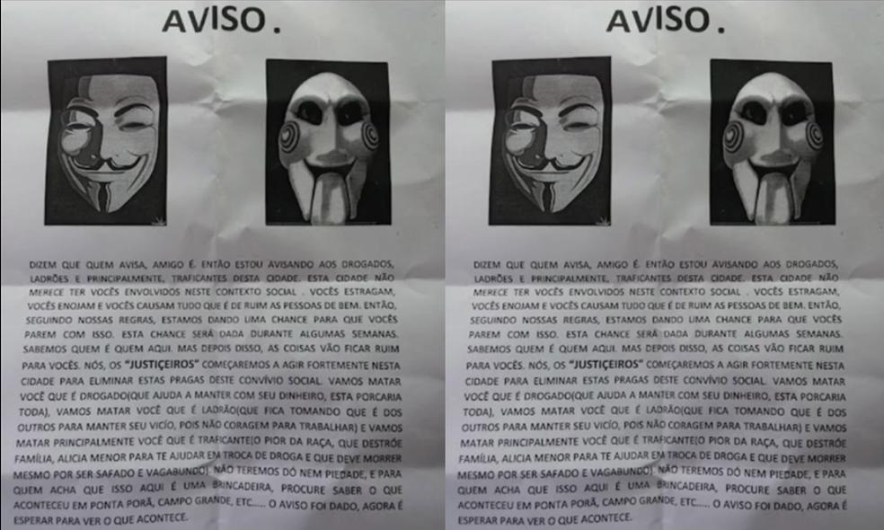 Policiais paraguaios disse que encontrou os 'avisos' em postes em Pedro Juan Caballero e Ponta Porã.  — Foto: Polícia do Paraguai/ Reprodução