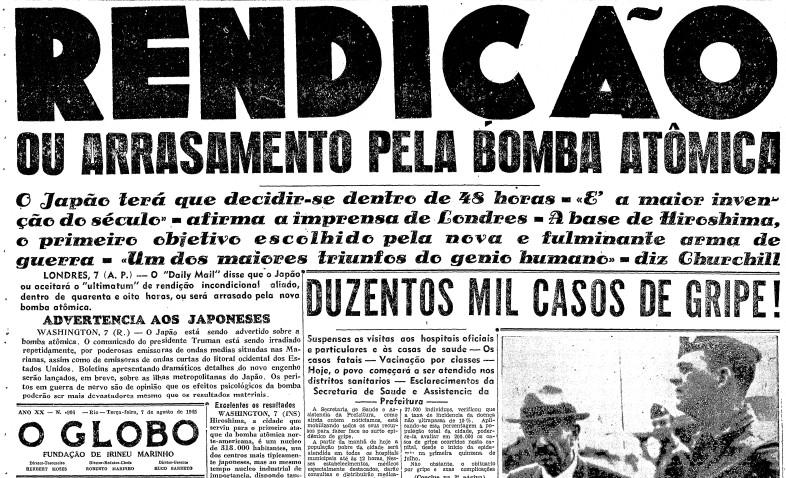 Primeira página do GLOBO do dia 7 de agosto de 1945