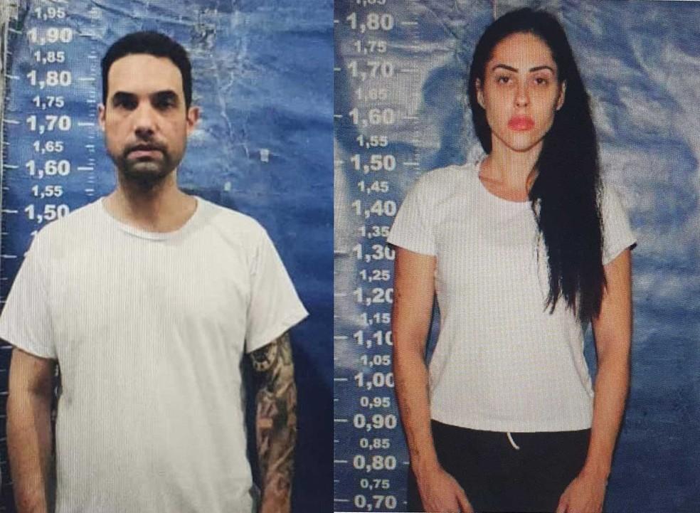 Dr. Jairinho e Monique Medeiros, em fotos feitas no ingresso do casal no sistema penitenciário — Foto: Reprodução