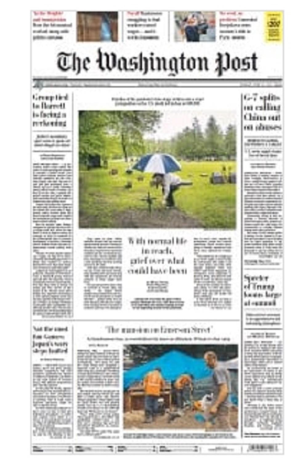 Capa real do Washington Post no domingo  — Foto: Reprodução