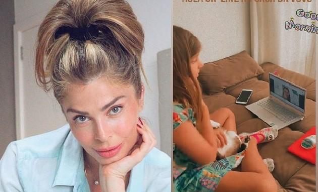 Grazi Massafera mostra Sophia na aula on-line (Foto: Reprodução)
