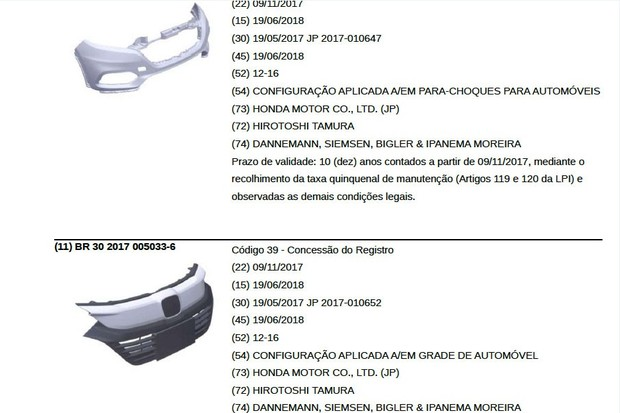 Patentes Honda HR-V 2019 (Foto: Reprodução/INPI)