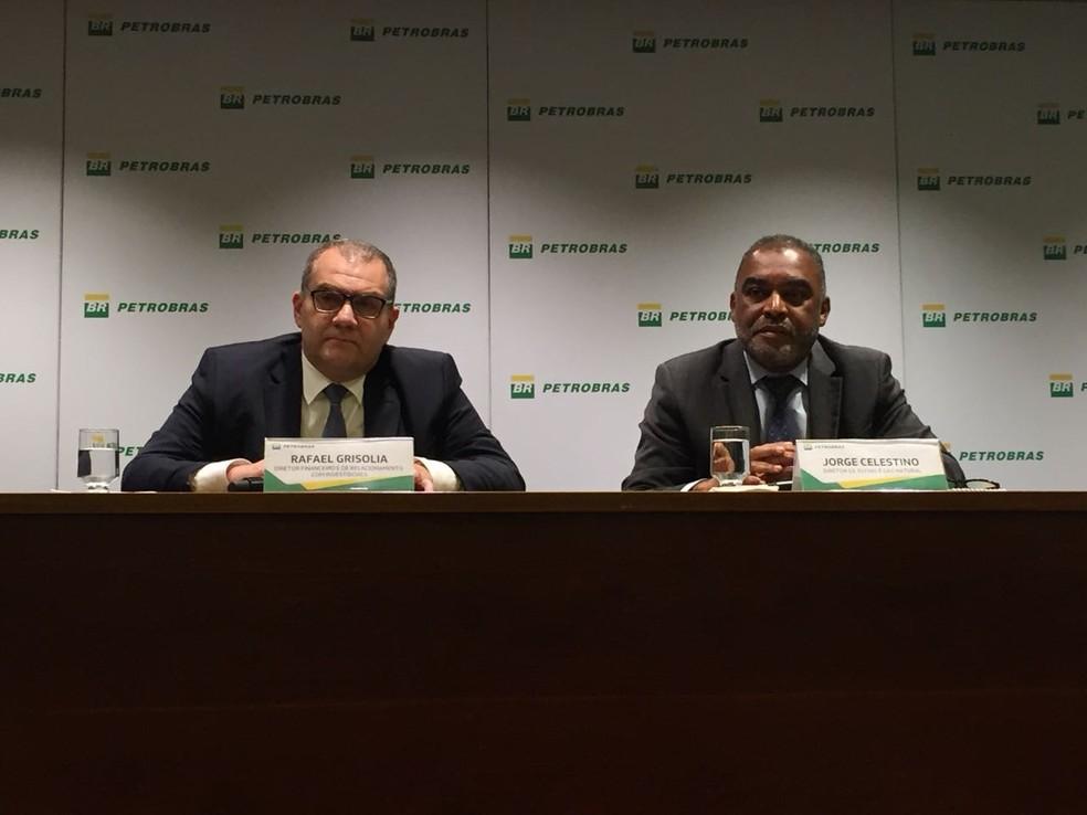 Rafael Grisolia, diretor financeiro da Petrobras, e Jorge Celestino, diretor de Refino e Gás Natural. (Foto: Daniel Silveira/G1)