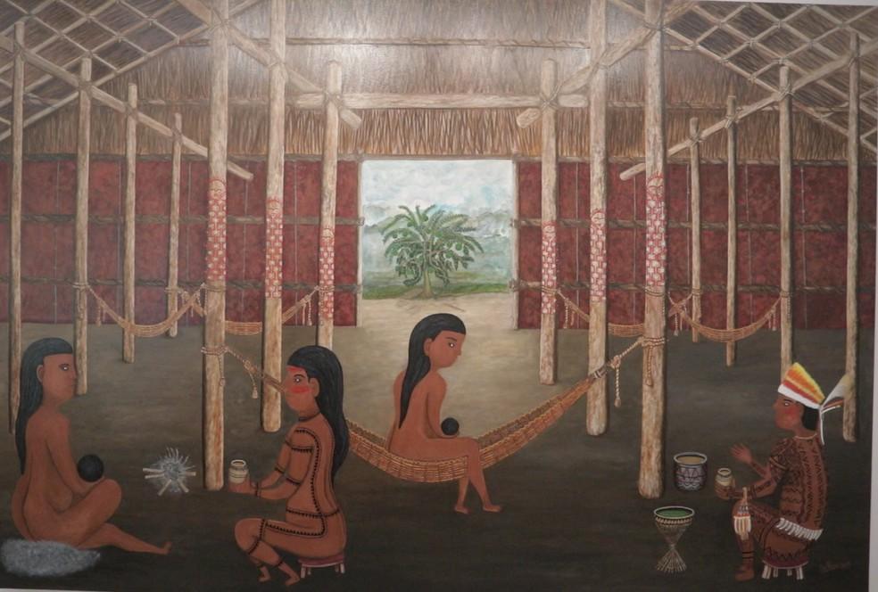 """Quadro de Duhigó """"Rede Macaco"""" representa lembrança de como foi parto de sua irmã, quando ainda era criança. — Foto: Divulgação"""