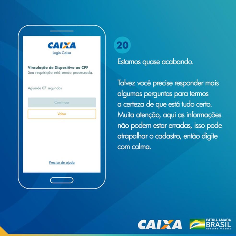 Tela 20 para pedir abertura da poupança social digital — Foto: Divulgação Caixa