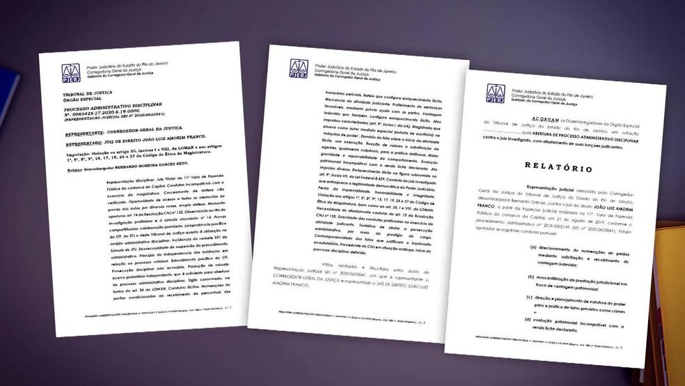 Relatório que pediu o afastamento do magistrado João Amorim do cargo tem 167 páginas e foi assinado pelo corregedor — Foto: Reprodução/ TV Globo