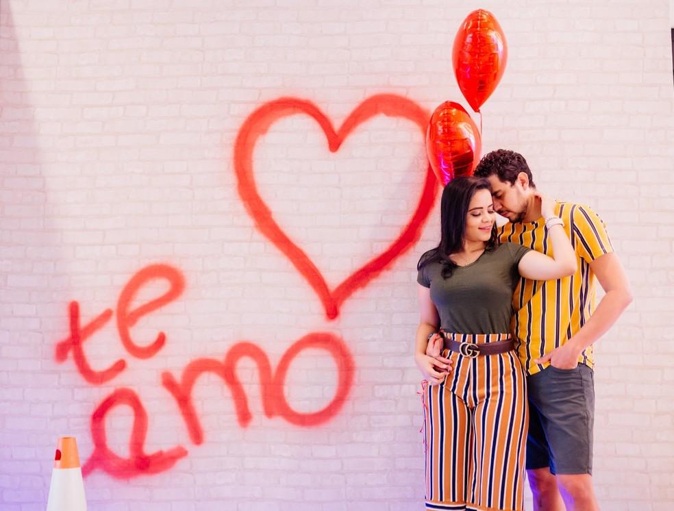 Campanha de Dia dos Namorados no shopping Cerrado, em Goiânia, Goiás — Foto: Olho Comunicação/Divulgação