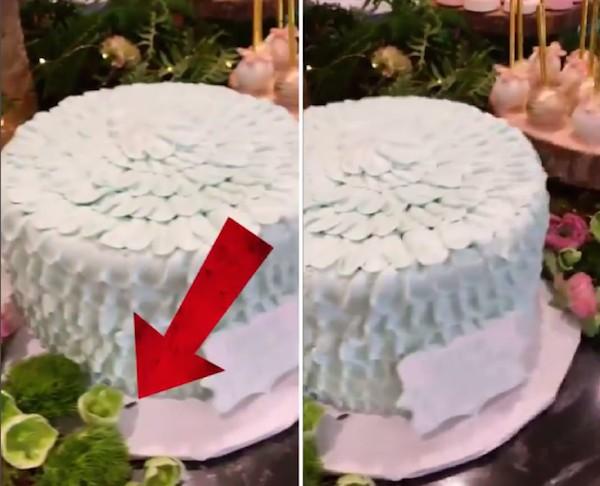 A barata flagrada no bolo da festa de aniversário de Dream Kardashian, organizada por Kylie Jenner (Foto: Instagram)