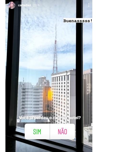 Carla Diaz compartilhou vista do hotel em que estava hospedada (Foto: Reprodução)