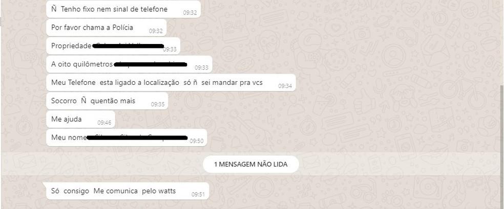 Outro trecho de mensagem mandada por mulher que era mantida em cárcere privado, em Bom Jesus. — Foto: Polícia Civil/Divulgação