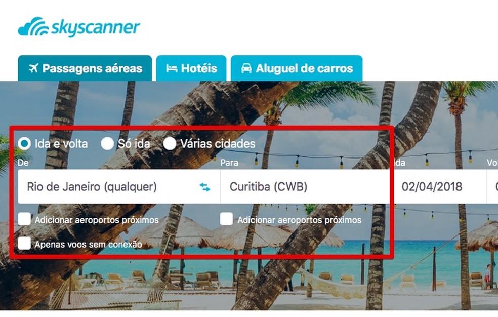 Preencha as informações do voo na barra na página inicial do Skyscanner (Foto: Reprodução/Helito Bijora)