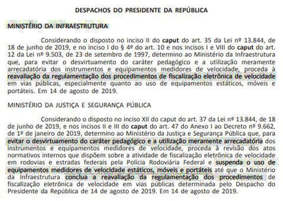 Suspensão do uso de radares móveis publicada em despachos do presidente Jair Bolsonaro no 'Diário Oficial da União' desta quinta-feira (15) — Foto: Reprodução/Diário Oficial da União