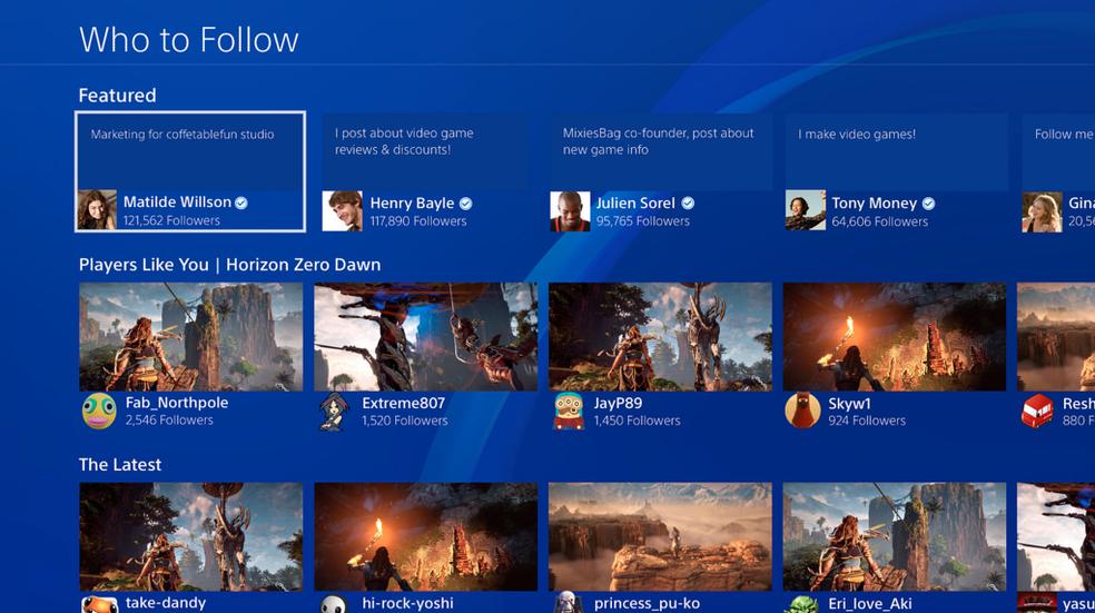 PS4 permite seguir qualquer pessoa (Foto: Divulgação/Sony)