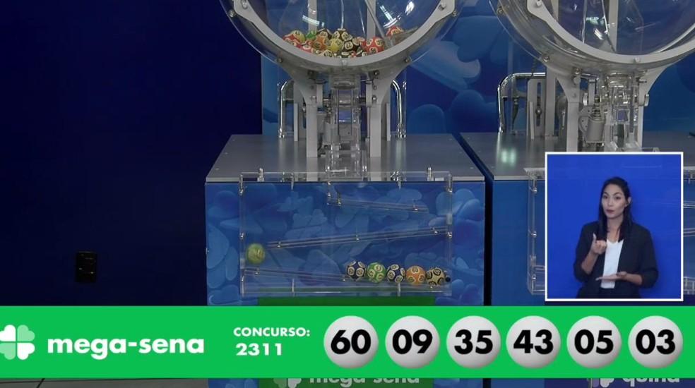 Dezenas sorteadas no concurso 2311 da Mega-Sena — Foto: Reprodução/Caixa