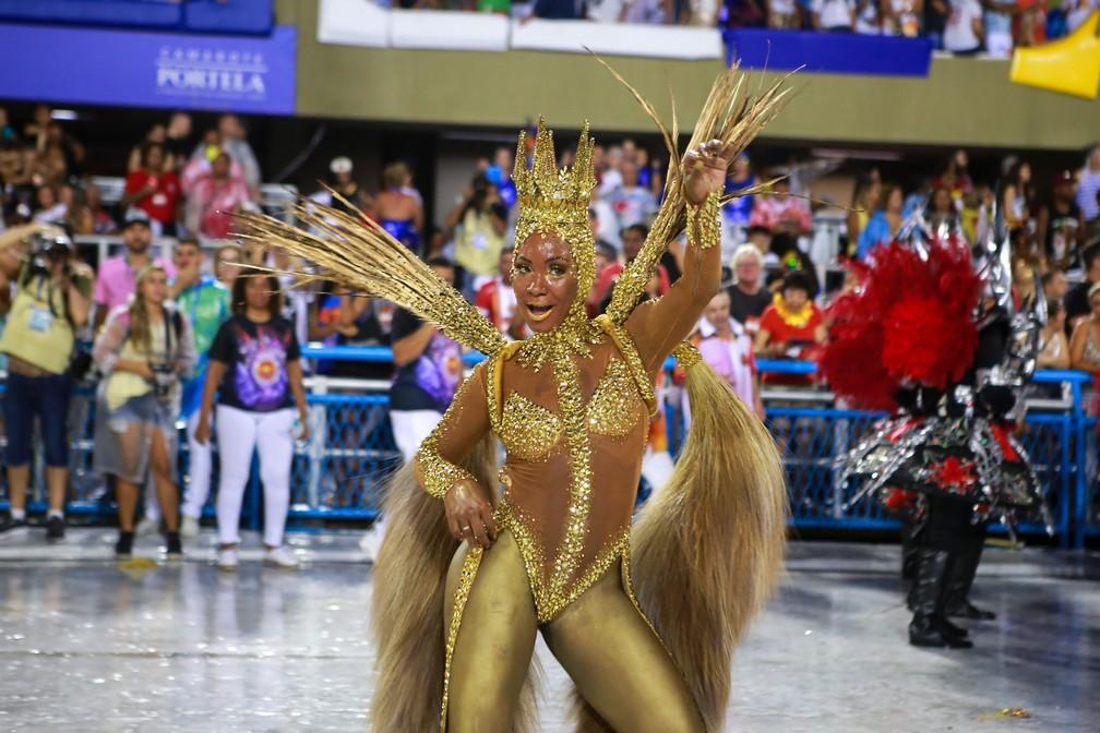 Crina de cavalo marca fantasia em desfile da Viradouro — Foto: Rodrigo Gorosito/G1