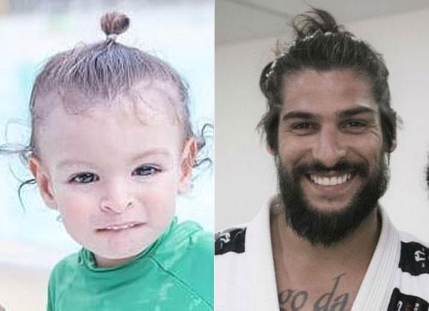 Benjamin com o penteado do pai, Saulo Bernard (Foto: Reprodução)