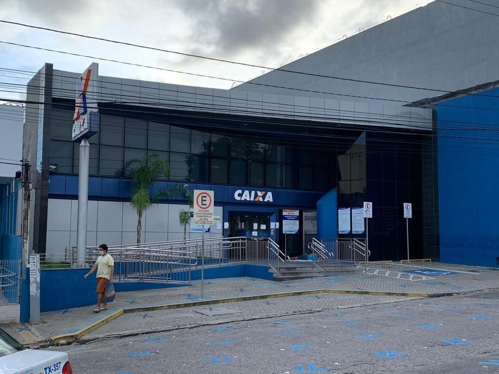 Agência da Caixa Econômica Federal do Alecrim, na Zona Leste de Natal — Foto: Anna Alyne Cunha/InterTV Cabugi