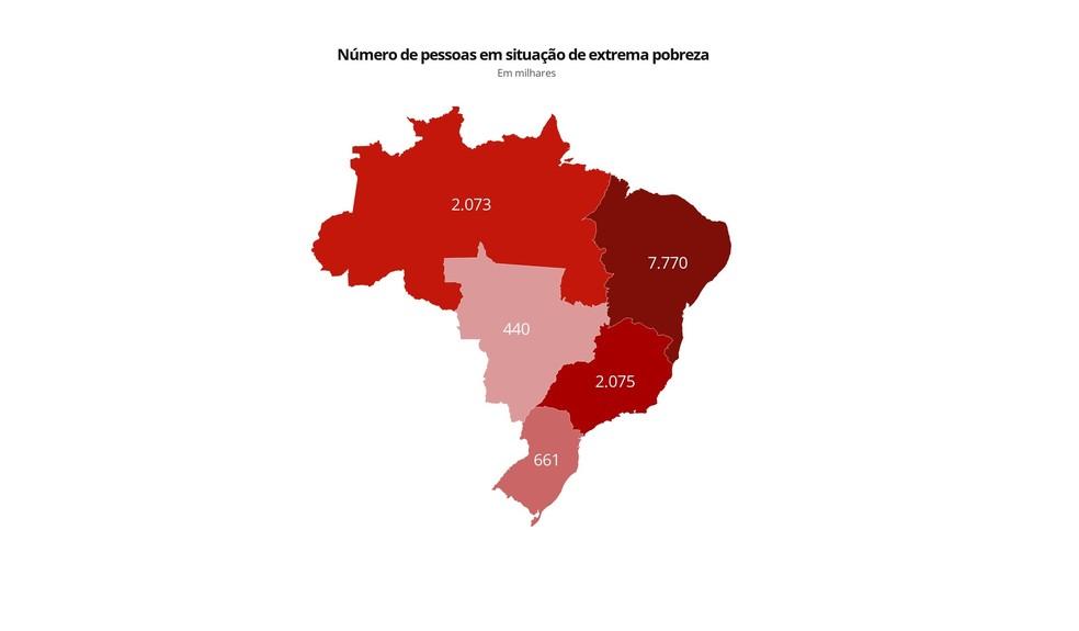 Mapa extrema pobreza por região no Brasil — Foto: Editoria de Arte/g1