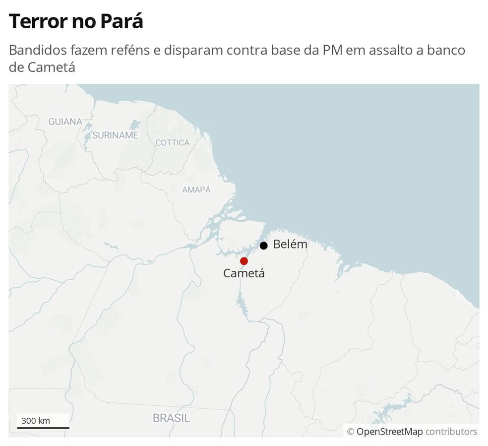 Infográfico mostra Cametá, cidade a cerca de 230 km de Belém, que foi atacada por quadrilha em assalto a banco — Foto: G1
