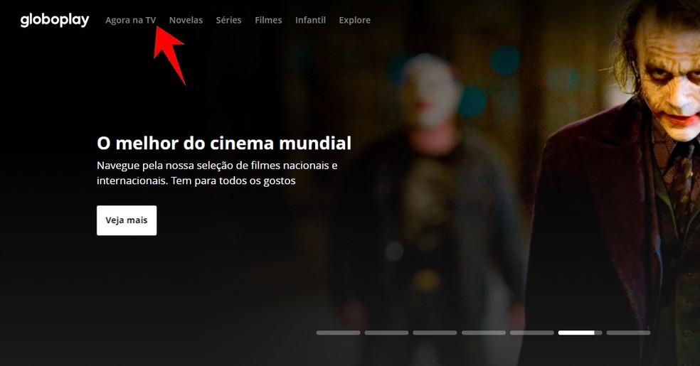 Brasil vs Argentina ao vivo: ação para entrar no menu 'Agora na TV' do Globoplay — Foto: Reprodução/Rodrigo Fernandes