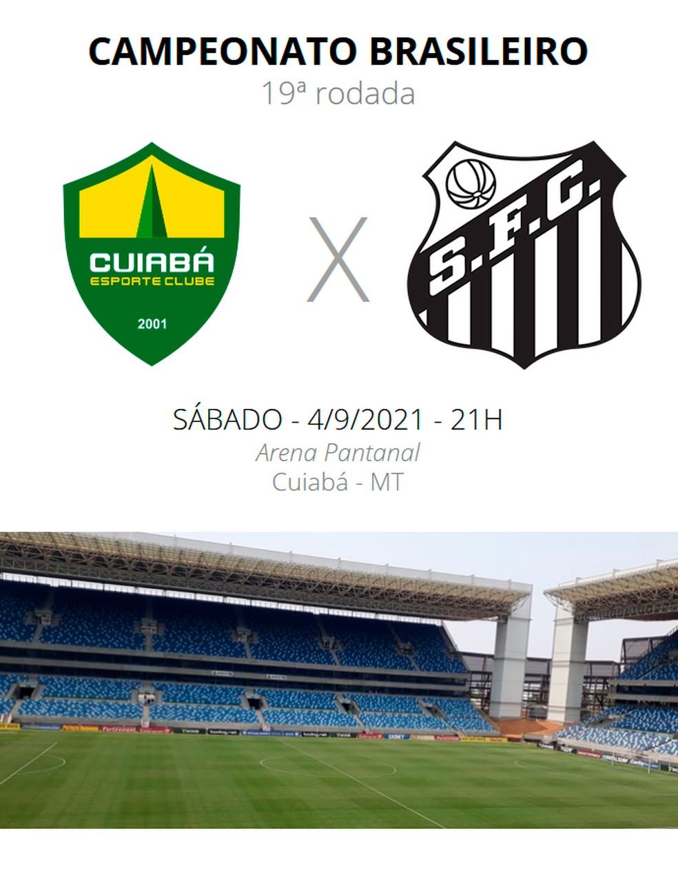 Ficha Cuiabá x Santos Brasileirão — Foto: ge