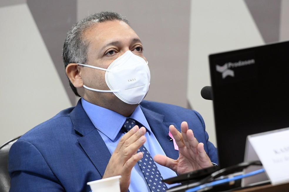 Kassio Marques durante sabatina no Senado, nesta quarta-feira (21). — Foto: Marcos Oliveira/Agência Senado