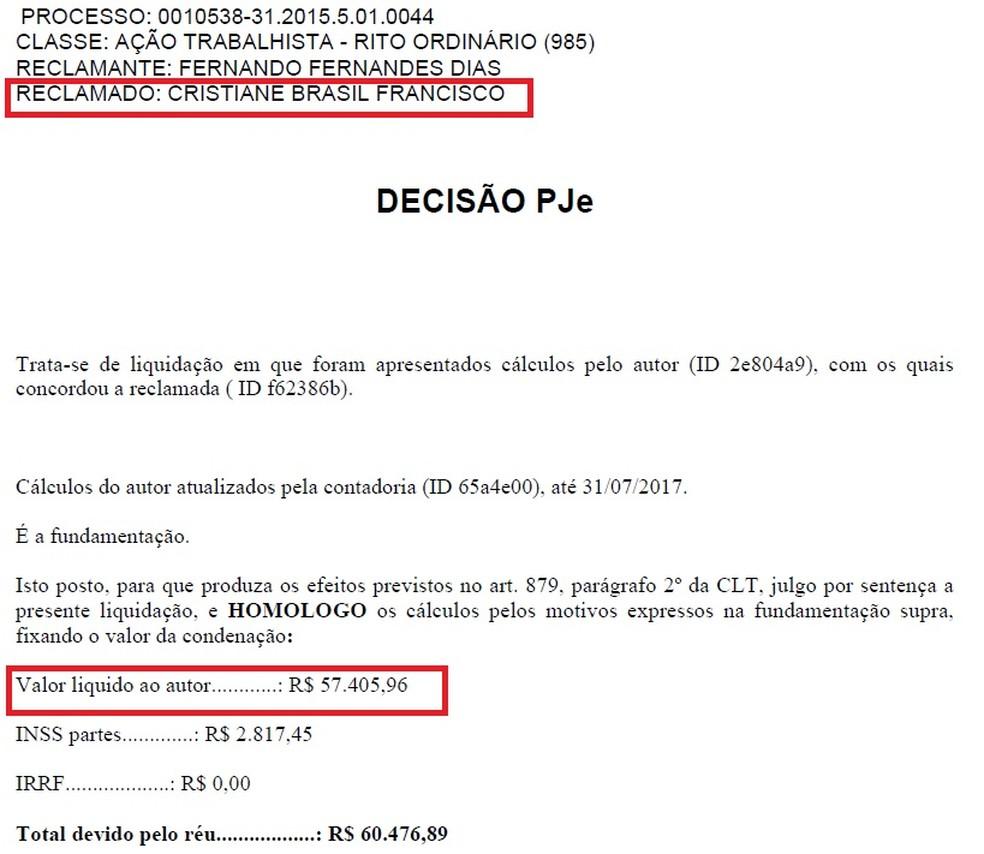 Processo mostra quantia devida pela ministra Cristiane Brasil em julho do ano passado (Foto: Reprodução)