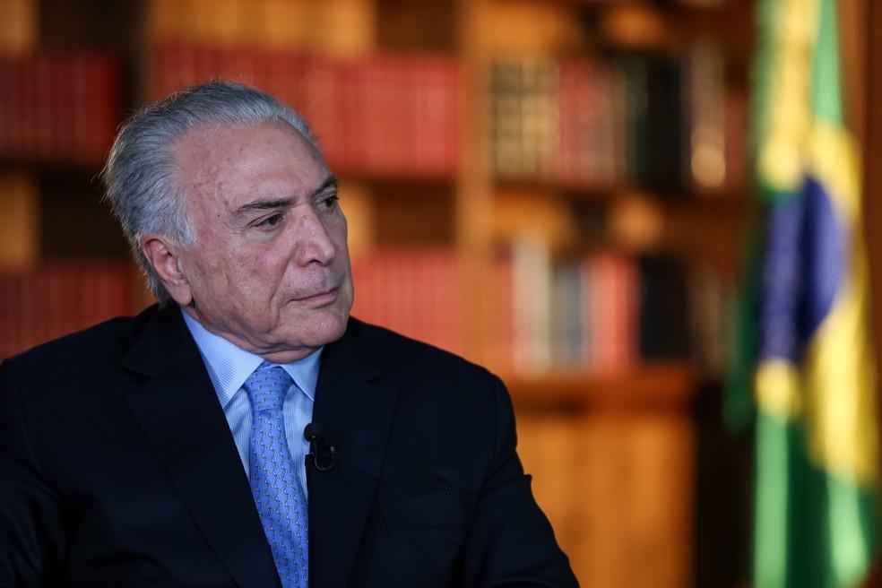 O ex-presidente Michel Temer durante entrevista em dezembro do ano passado — Foto: Marcos Corrêa/Presidência da República