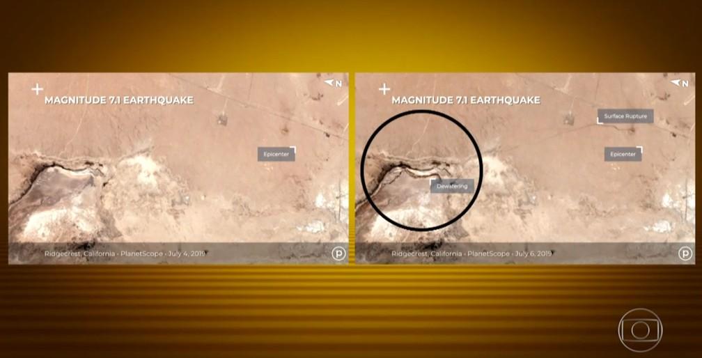 Terremoto na Califórnia provocou rachadura que pode ser vista do espaço — Foto: Reprodução/TV Globo
