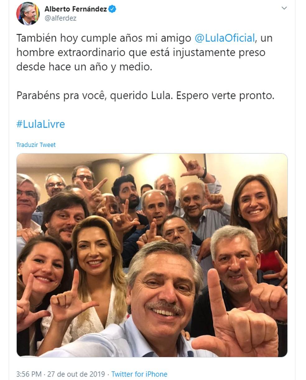 Alberto Fernández, então candidato à presidência da Argentina, faz postagem sobre o ex-presidente Lula — Foto: Reprodução/Twitter