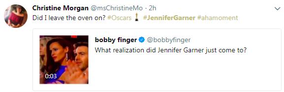Um fã cogitando se Jennifer Garner teria acabado de lembrar que esqueceu de desligar o fogão (Foto: Twitter)