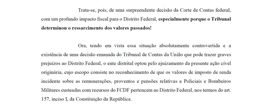 Trecho de petição da Procuradoria-Geral do DF. — Foto: Reprodução