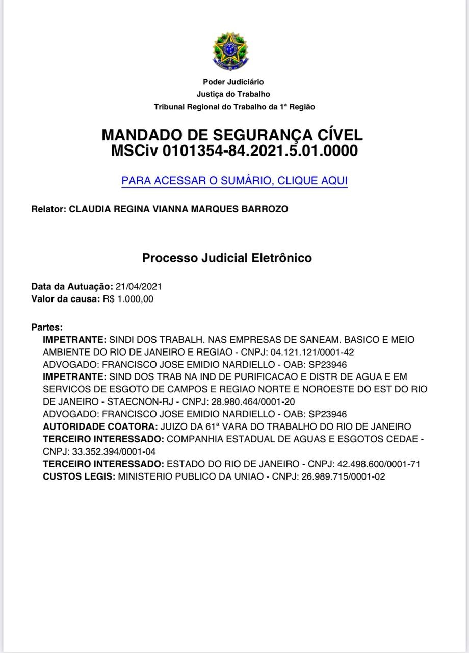 Justiça do Trabalho acaba de suspender leilão da Cedae
