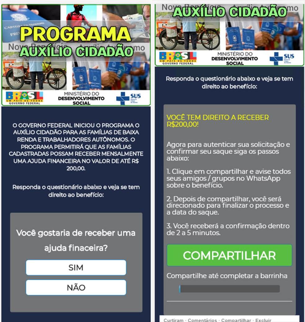 Página falsa de cadastramento do 'Auxílio Cidadão'. — Foto: Reprodução
