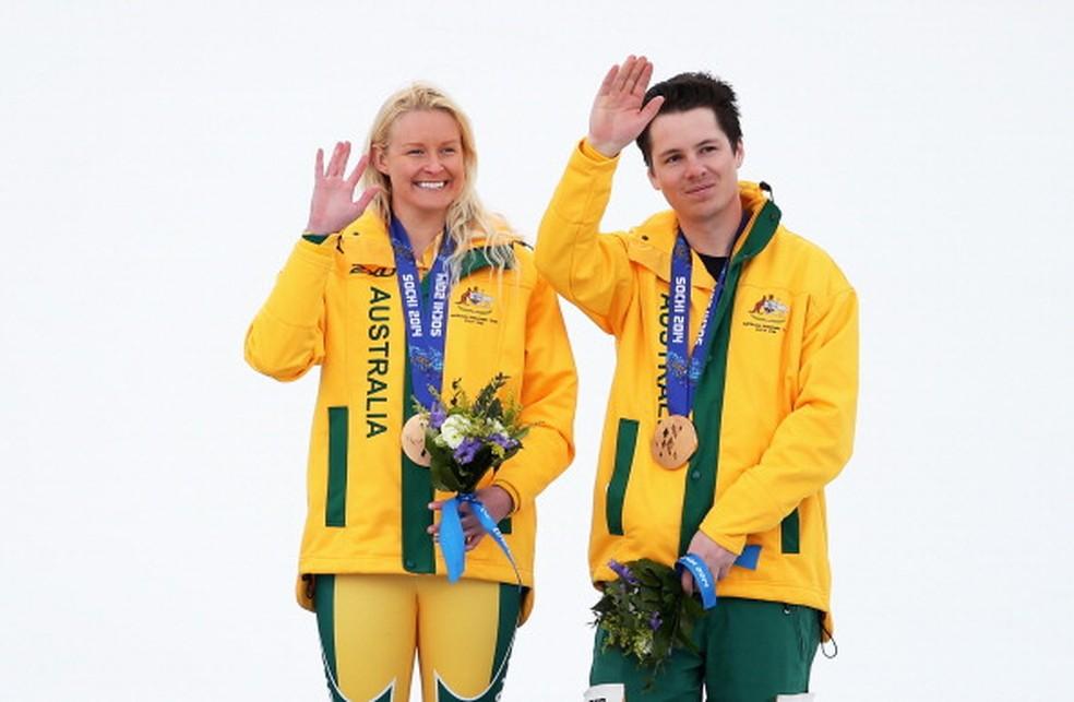 Jessica Gallagher da Austrália e seu guia Christian Geiger em Sochi - 2014 — Foto: Ian Walton/Getty Images