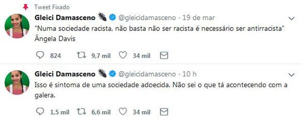 """Gleice posta sobre vitória de Paula no """"BBB19"""" (Foto: Reprodução/Twitter)"""