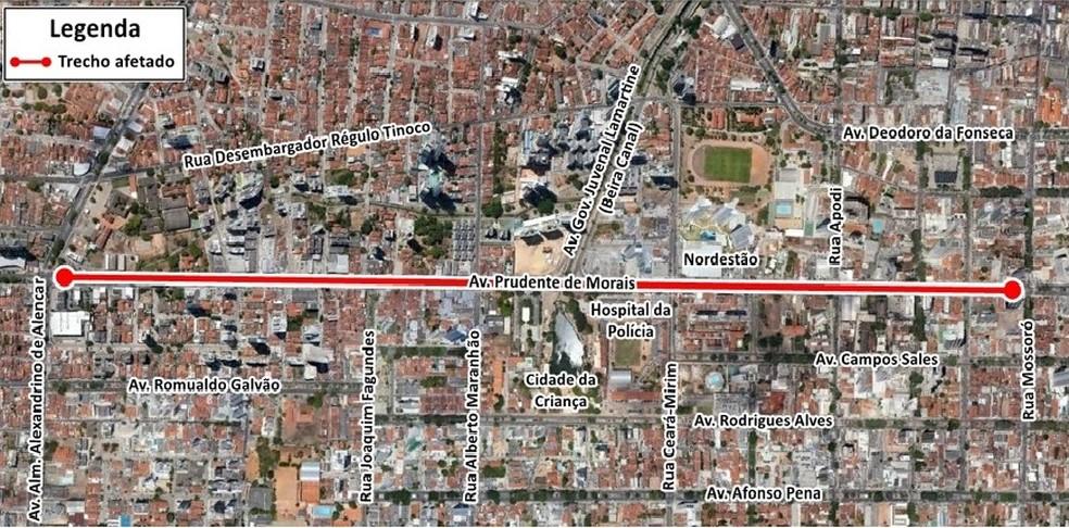Avenida Prudente de Morais será interditada nesta segunda-feira (24) (Foto: Reprodução/STTU)