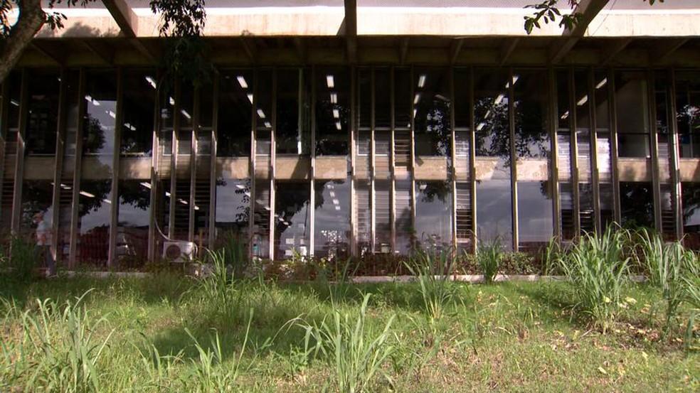 Mato alto e falta de limpeza eram reclamações de frequentadores da Ufes (Foto: Reprodução/ TV Gazeta)