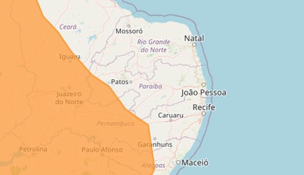 Inmet emite alerta laranja de perigo de chuvas intensas para 36 municípios da Paraíba — Foto: Inmet/Reprodução