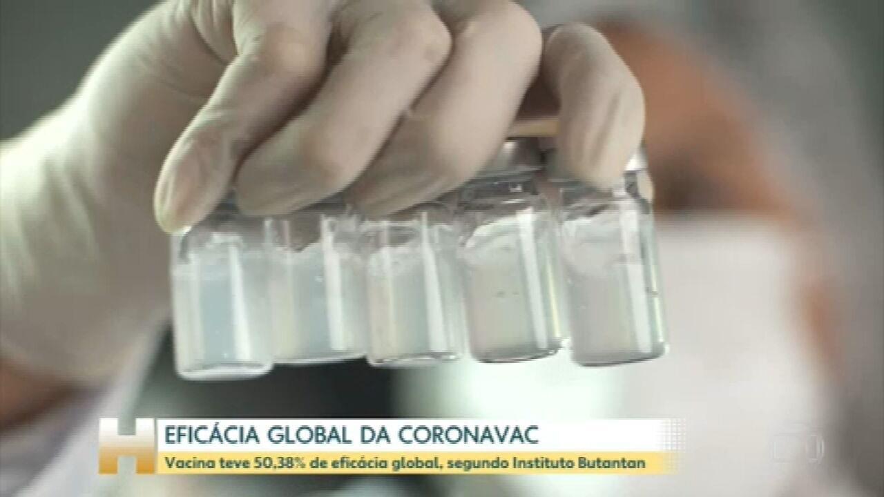 Vacina CoronaVac tem eficácia global de 50,4% nos testes feitos no Brasil, diz Instituto Butantan