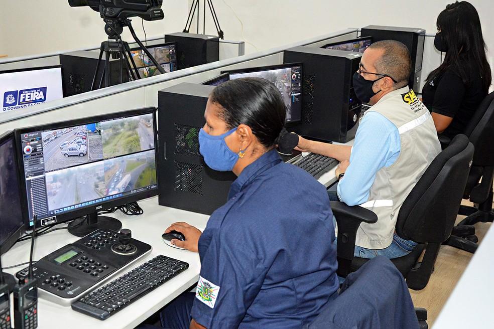 Central de monitoramento em Feira de Santana — Foto: Divulgação / Prefeitura