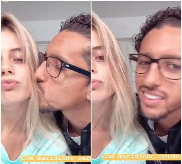 Carol Cabrino sem make ganhando beijos de Marquinhos (Foto: Reprodução/Instagram)
