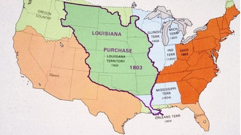 A compra de Louisiana permitiu aos EUA duplicar se território e abriu portas para a expansão a oeste — Foto: Getty Images/BBC