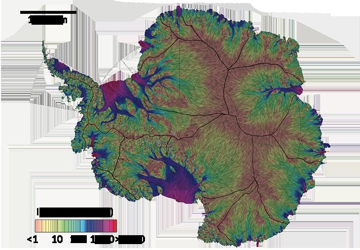 Mapa mostra movimentação do gelo em metros por ano na Antártida (Foto: JEREMIE MOUGINOT/UCI)