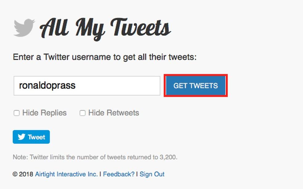 Tela 3 de passo a passo para apagar publicações no Twitter — Foto: Reprodução
