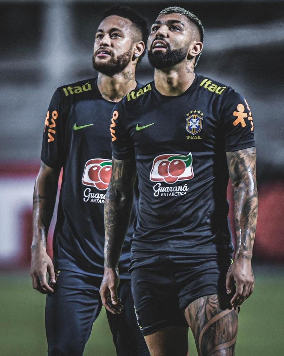 Gabriel e Neymar em convocação da Seleção em 2019: a dupla volta a se encontrar no time de Tite em 2021 — Foto: Pedro Martins / Foto FC