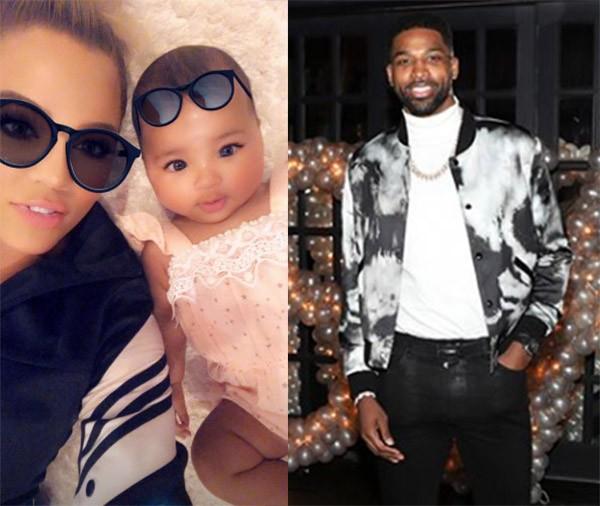 Khloé Kardashian, True e Tristan Thompson (Foto: Instagram)