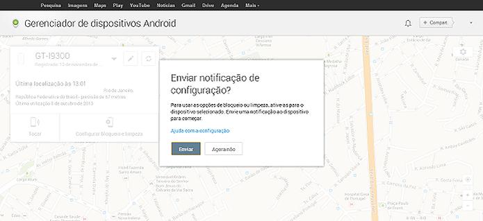 Bloqueio do Android é feito no site do Device Manager  (Foto: Reprodução/Aline Jesus)