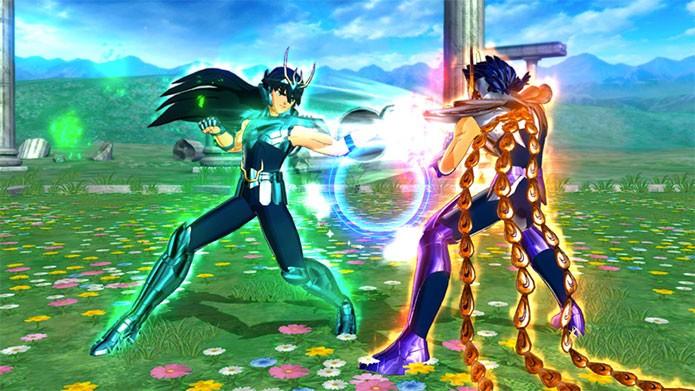 Shiryu e Ikki aparecem lutando no game (Foto: Divulgação)